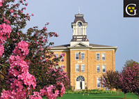 Postcard Old Main with apple blossoms