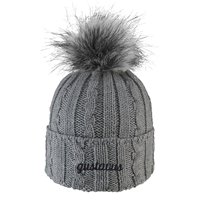 Cap Alps Knit Cuff With Faux Fur Pom Gray