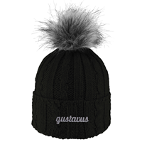 Hat Alps Knit Cuff With Faux Fur Pom Black