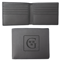 Billfold Wallet Leather Debossed  G & Crowns Lt Gray