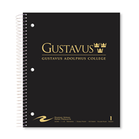 Notebook Gustavus Wordmark 1 Subject Black / Gray / White