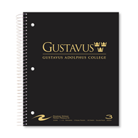 Notebook Gustavus Wordmark 3 Subject Black / Gray