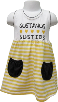 Toddler Dress W/ Stripes Black / Gold